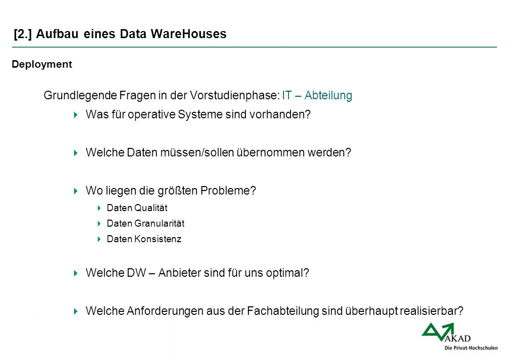 [2.] Aufbau eines Data WareHouses